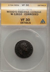 1724 FARTH Hibernia Farthing--Corroded--ANACS. VF30 Details. W-12610. NGC Census: (0/1). PCGS Population (0/10). (#187)&...