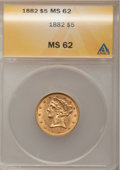 1882 $5 MS62 ANACS. NGC Census: (2304/1651). PCGS Population (1188/741). Mintage: 2,514,568. Numismedia Wsl. Price for p...