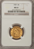 Liberty Half Eagles: , 1907 $5 MS61 NGC. NGC Census: (1378/5657). PCGS Population(617/3925). Mintage: 626,192. Numismedia Wsl. Price for problem ...