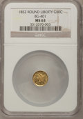 California Fractional Gold: , 1852 50C Liberty Round 50 Cents, BG-401, R.3, MS63 NGC. NGC Census:(4/3). PCGS Population (25/13). (#10443)...