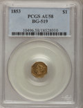 California Fractional Gold: , 1853 $1 Liberty Octagonal 1 Dollar, BG-519, Low R.4, AU58 PCGS.PCGS Population (25/50). NGC Census: (7/8). (#10496)...