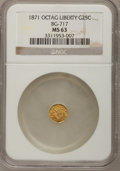 California Fractional Gold: , 1871 25C Liberty Octagonal 25 Cents, BG-717, R.3, MS63 NGC. NGCCensus: (7/21). PCGS Population (42/135). (#10544)...