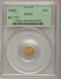 California Fractional Gold: , 1860 25C Liberty Octagonal 25 Cents, BG-731, Low R.5, AU55 PCGS.PCGS Population (7/29). NGC Census: (0/9). (#10558)...