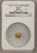 California Fractional Gold: , 1860/50 25C Liberty Round 25 Cents, BG-819, R.4, MS61 NGC. NGCCensus: (3/5). PCGS Population (12/41). (#10680)...