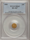 California Fractional Gold: , 1881 25C Indian Round 25 Cents, BG-887, R.3, MS63 PCGS. PCGSPopulation (36/98). NGC Census: (5/11). (#10748)...