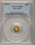 California Fractional Gold: , 1874 50C Indian Round 50 Cents, BG-1055, High R.4, MS64 PCGS. PCGSPopulation (7/1). NGC Census: (1/0). (#10884)...