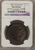 Coins of Hawaii, 1883 $1 Hawaii Dollar--Damage, Improperly Cleaned--NGC Details.Fine. NGC Census: (0/284). PCGS Population (1/556). Mintage...