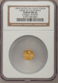 "California Gold Charms, ""1853"" Round Arms of California/California Gold Token MS64 NGC. 0.30gm...."