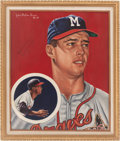 Baseball Collectibles:Others, 1985 Eddie Mathews Signed Original Artwork by Robert Simon....