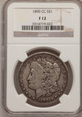 1890-CC $1 Fine 12 NGC. NGC Census: (42/4656). PCGS Population (57/9327). Mintage: 2,309,041. Numismedia Wsl. Price for...