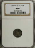 Seated Half Dimes: , 1837 H10C Large Date (Curl Top 1) MS64 NGC. Softly lustrous beneathpleasing rose-orange, plum, and blue patina. This dimin...