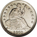 Seated Half Dimes: , 1840-O H10C No Drapery MS63 NGC. V-4, R.5. Small O. The date isrepunched on 840. Obverse stars 1, 2, 5, 6, 12 and 13 are r...