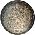 Proof Seated Half Dimes: , 1859 H10C PR65 PCGS. A coating of obviously original patina coverseach side of this well detailed Gem, with mostly charcoa...