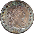 Early Dimes: , 1800 10C AU55 PCGS. JR-2, R.5. Aquamarine iridescence graces bothsides, but cedes to a window of rose patina on the revers...