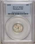 Bust Dimes: , 1830 10C Small 10C MS63 PCGS. JR-2, R.1. PCGS misattributed thisSmall 10 C as Medium 10 C. The digit 0 in the date is abou...