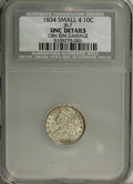 Bust Dimes: , 1834 10C Large 4--Obverse Rim Damage--NCS. Unc. Details. JR-1, R.1. Misattributed by NGC as JR-7, the Small 4 variety. A bo...