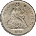 Seated Dimes: , 1861-S 10C MS62 PCGS. The relatively low mintage of 172,500 piecesdoesn't even begin to explain the scarcity of this chall...