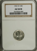 Mercury Dimes: , 1921-D 10C AU58 Full Bands NGC. A touch of highpoint friction denies a Mint State grade, but that cannot take away from the...