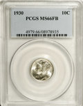 Mercury Dimes: , 1930 10C MS66 Full Bands PCGS. The lustrous surfaces have faintgold color at the reverse rims, but the fields are brillian...