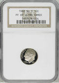 "Proof Roosevelt Dimes: , 1983 10C No S PR69 Ultra Cameo NGC. Virtually perfect surfacesexhibit ""white-on-black"" contrast. Heavily frosted motifs ar..."