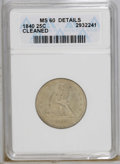 Seated Quarters: , 1840 25C --Cleaned--ANACS. MS60 Details. A meticulously struckcream-gray quarter that lacks obvious signs of cleaning, alth...