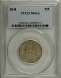 Seated Quarters: , 1841 25C MS63 PCGS. Softly lustrous beneath subdued gold and olivepatina. This Select representative has suitable detail a...