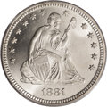 Seated Quarters: , 1881 25C MS66 PCGS. Because of the Treasury obligation to strikesilver dollars, the mintage for this issue amounted to a t...