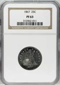 Proof Seated Quarters: , 1867 25C PR63 NGC. Each side possesses modest contrast as afunction of the patina. The rose-tinged eagle projects from a s...
