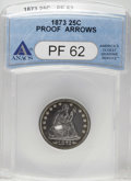Proof Seated Quarters: , 1873 25C Arrows PR62 ANACS. Crisply struck with excellentreflectivity and pleasing grape patina at the rims. Moderatelyha...