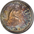 Proof Seated Quarters: , 1884 25C PR66 NGC. Dramatic orange, ruby, sea-green, and goldtoning endow this flashy and sharply struck specimen. A remar...