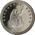 Proof Seated Quarters: , 1884 25C PR67 Cameo NGC. There is no toning on either side of thissnow-white Superb Gem, and the surfaces are equally free...