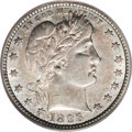 """Barber Quarters: , 1896-S 25C XF45 PCGS. The 1896-S qualifies as one of the """"key""""dates of the Barber quarter series. This Choice XF specimen ..."""