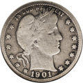 Barber Quarters: , 1901-S 25C --Repaired--ANACS. VG8 Details. It appears that somesurface disruption was expertly repaired, showing as light f...