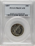 Proof Barber Quarters: , 1897 25C PR63 Cameo PCGS. Golden peripheral toning adds color to this dove-gray Select Cameo proof. The crisply defined dev...