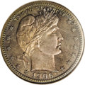 Proof Barber Quarters: , 1906 25C PR67 NGC. The obverse features an ocean-blue periphery with a pinkish-gold center, while the reverse offers a simi...