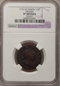 1773 1/2P Virginia Halfpenny, No Period--Holed--NGC Details. VF. NGC Census: (1/30). PCGS Population (1/92). (#243)...(P...