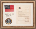 Transportation:Space Exploration, Apollo 14 Lunar Module Flown American Flag and Embroidered Mission Insignia Patch. ...