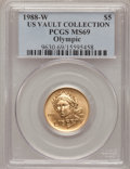 Modern Issues, 1988-W G$5 Olympic Gold Five Dollar MS69 PCGS. Ex: Us VaultCollection. PCGS Population (2528/220). NGC Census: (1052/1111)...