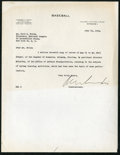 Baseball Collectibles:Others, 1944 Kenesaw Mountain Landis Signed Letter to Ford Frick....