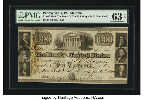Obsoletes By State Pennsylvania Philadelphia Pa The Bank Of United States