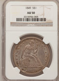 Seated Dollars: , 1849 $1 AU50 NGC. NGC Census: (15/178). PCGS Population (33/162).Mintage: 62,600. Numismedia Wsl. Price for problem free N...