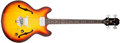Musical Instruments:Bass Guitars, 1967 Epiphone Rivoli Sunburst Semi-Hollow Body Electric Bass Guitar, #090491. ...