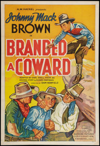 "Branded a Coward (Supreme, 1935). One Sheet (27"" X 41""). Western"