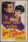 """Movie Posters:Mystery, Love From a Stranger (Eagle Lion, 1947). One Sheet (27"""" X 41"""").Mystery.. ..."""