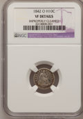 Seated Half Dimes, 1842-O H10C --Improperly Cleaned--NGC Details. VF.NGC Census:(1/33). PCGS Population (3/32). Mintage: 350,000. Numismed...