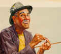 Mainstream Illustration, HARRY (HOMER) FREDMAN (American, b. 1923). Fishing Lure.Gouache on board. 12.5 x 15 in. (image). Signed lower left. ...