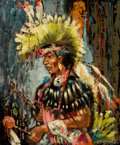 Fine Art - Painting, American:Contemporary   (1950 to present)  , The Collection of Paul Gregory and Janet Gaynor. O.E.L. GRAVES (American, 1897-1971). Sioux Warrior. Oil on canvas...