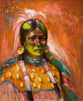 Fine Art - Painting, American:Contemporary   (1950 to present)  , The Collection of Paul Gregory and Janet Gaynor. O.E.L.GRAVES (American, 1897-1971). Sarcee Warrior. Oil onmason...