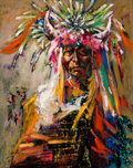 Fine Art - Painting, American:Contemporary   (1950 to present)  , The Collection of Paul Gregory and Janet Gaynor. O.E.L.GRAVES (American, 1897-1971). War Drum Dancer. Oil oncanv...