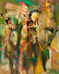 Fine Art - Painting, American:Contemporary   (1950 to present)  , The Collection of Paul Gregory and Janet Gaynor. O.E.L.GRAVES (American, 1897-1971). At the Little Big Horn. Oil...